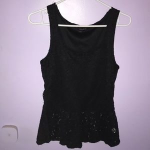 Large Black laced tank top